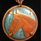 Native American Copper Horse Necklace Equestrian