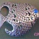 Sterling Reticulated Designer FISH Brooch Pin Gemstone