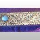 Italian Peruzzi Lipstick Case Turquoise Etched ART DECO