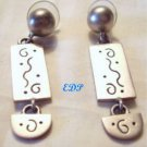Anne Forbes Sterling Dangle Earrings Mechanical Etched