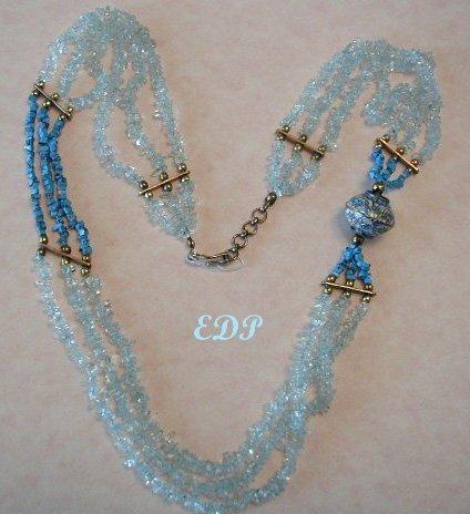 Turquoise Baby Blue Quartz Enamel Cloisonne Necklace