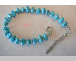 Native American Sterling Turquoise Bracelet Feather Charm
