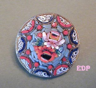 Micro Mosaic Pin Brooch Italy Florals Flowers
