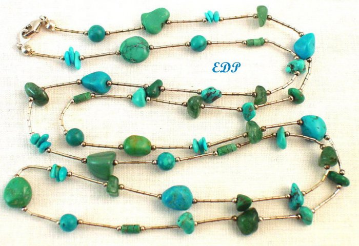 """Native American Liquid Silver Turquoise Necklace 36"""""""