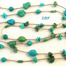 Native American Liquid Silver Turquoise Necklace 36""