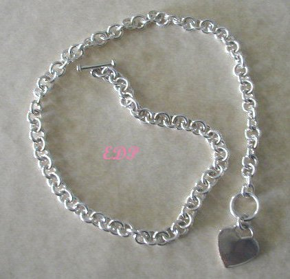 Sterling Designer Inspired Heart Necklace Toggle Chain