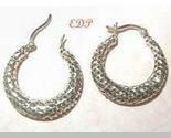 Sterling Hoop Earrings Mesh Pierced Designer Filigree