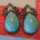 Sterling Turquoise Screwback Earrings Danecraft Vintage