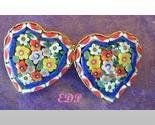 Micro Mosaic Flowers PIN or Brooch Double Hearts Italy