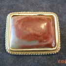 Italian AGATE Pin Brooch Italy Ornate Bezel