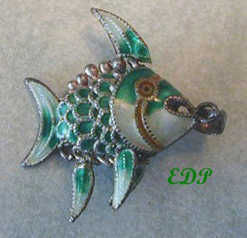 Antique Champleve Enamel Articulated Fish Koi Charm