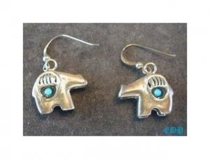 Sterling and Turquoise 3D Fetish Bear Dangle Earrings