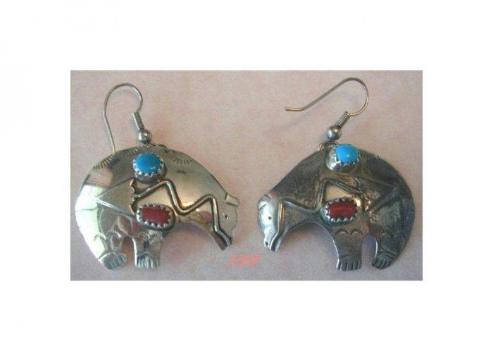 Native American Zuni Navajo Bear Fetish Earrings Gemstones