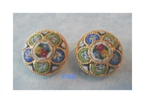Antique Micro Mosaic Pastel Colors Clip Earrings Italy