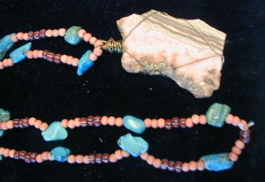 Native American Turquoise Coral Banded Agate Necklace