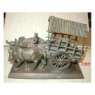 Asian Bronze Oxen Cart Temple Toy Tibet Buddhist Wagon
