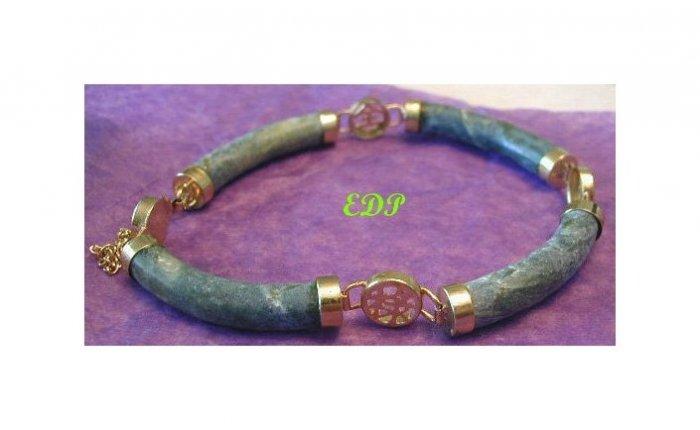 Oriental Asian Chinese Jade Bracelet w/ Safety Chain