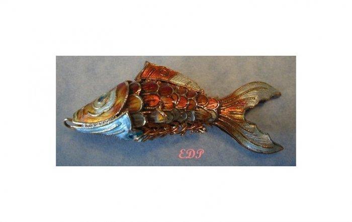 Champleve Enamel Articulated Fish Koi Charm Pendant