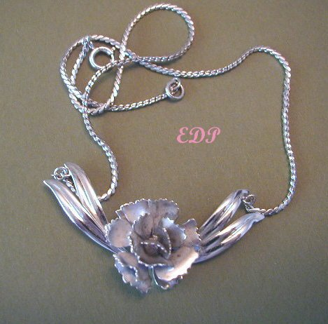 Sterling Necklace Schraysshuen Carl-Art Rose Flowers