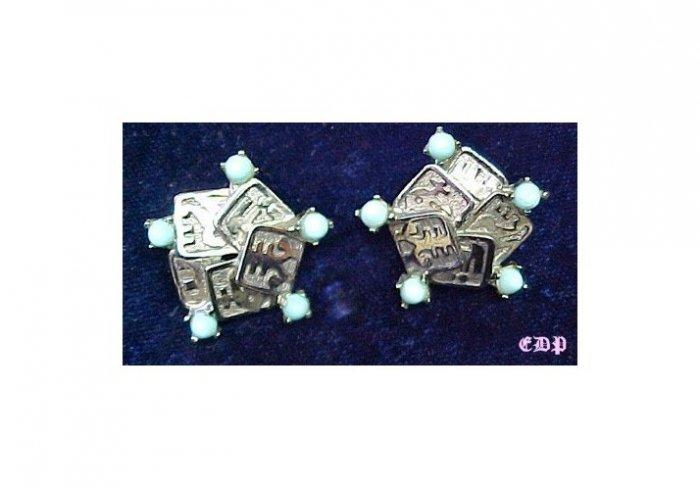 Boucher Oriental Asian Character Clip Earrings w Stones