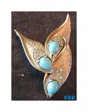 Marcel Boucher Pin Brooch Faux Turquoise and Rhinestones