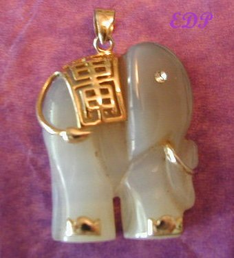 Lavendar Jade Elephant Charm Gold Accents Carved Large