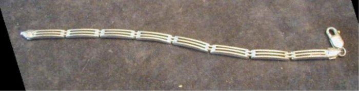 Sterling Italian Designer Bar Link Bracelet Italy Unisex