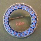 Micro Mosaic Floral Circle Pin Daisies Forget-Me-Nots