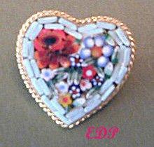 Micro Mosaic Flowers HEART PIN or Brooch Italy Italian