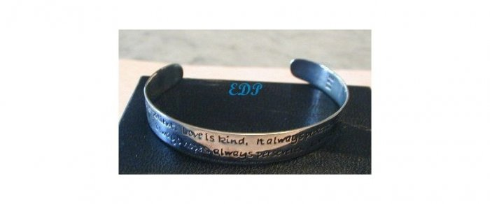 Sterling Love Quote UNISEX Cuff Bracelet Inspirational
