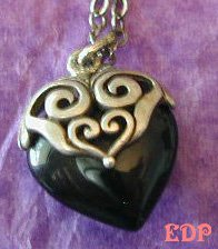 Sterling and Onyx Filigree Heart Pendant Charm Necklace