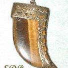 Tigereye Pendant Charm Watch Fob Claw Filigree Art Deco