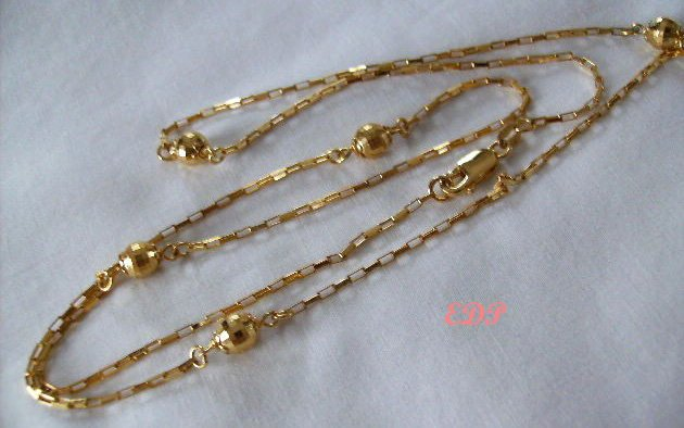 """Sterling 30"""" Italian Disco Ball Necklace Gold Italy"""