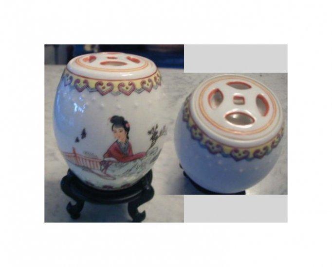 Hand Painted Oriental Tea Jar Tea Canister Porcelain