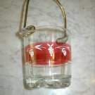 Vintage Italian Art Glass Ice Bucket Metal Handle Italy