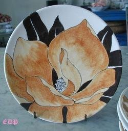 Ernestine Salerno Italy Hand Painted Floral Plate