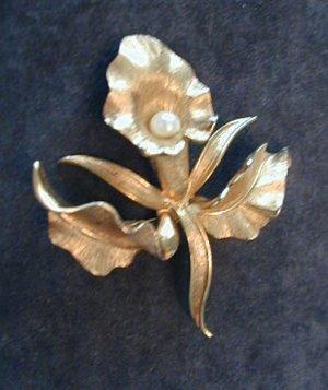 Designer Marcel Boucher Orchid Brooch Pin w Pearl