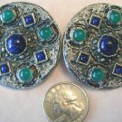 De Liguoro Etruscan Clip Earrings Jade Lapis Large