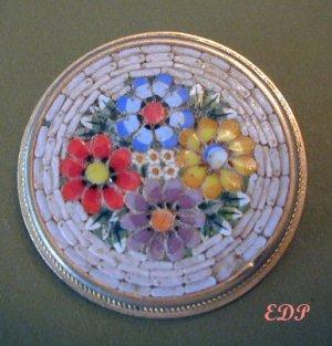 Vintage Italian Micro Mosaic Flower Bouquet Pin Brooch