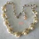 LISNER Golden Rhinestone Pearl Adjustable Necklace