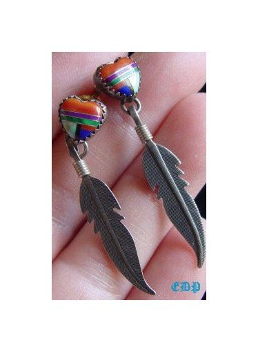 Native American Sterling Gem Heart Feather Earrings