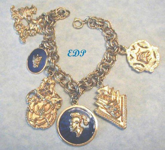 Shields Medieval Gothic Charm Bracelet Enamel Gargoyles