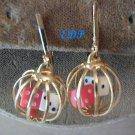 Vintage DICE in Cage Clip Earrings Bakelite Catalin