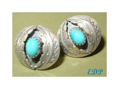Native American Sterling & Turquoise Pierced Earrings