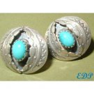 Native American Sterling & Turquoise Pierced Earrings