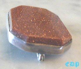 Antique GOLDSTONE Brooch Pin Sterling Framed Mounting