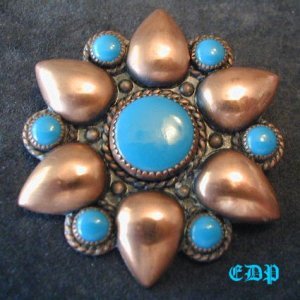 Native American Copper Turquoise Star Brooch Pin Signed