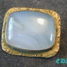 Victorian Opal or Milky Quartz Brass Pin Etched Brooch