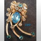 Aqua and Clear Rhinestone Brooch Pendant Pin Bling