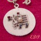 Sterling Music Clef Note Charm Chain Pearl Aqua Garnet